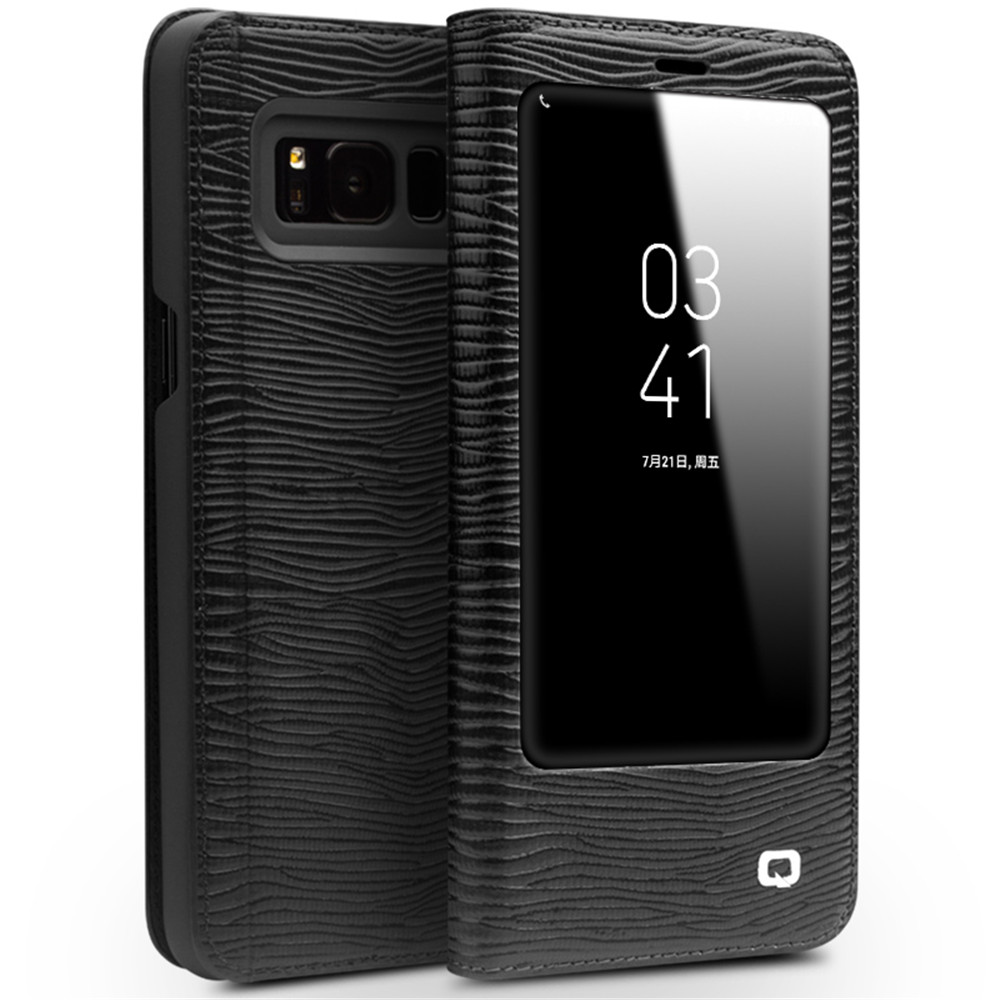 QIALINO Genuine cowhide Flip Bag <font><b>sleep</b></font> wake function for Samsung S8 lizards Leather Flip Wallet Ultra Thin Cover for Samsung S8