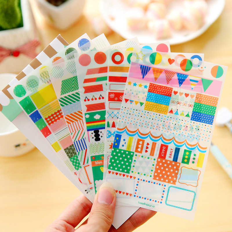 6 Sheets Pack New Cute Rainbow Diary Stickers Multifunction Cartoon Diy Pvc Sticker Index Sticker Sign Post
