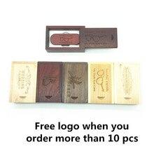 Hot Sale (OVER 10 PCS free LOGO) wooden usb + box usb flash drive pendrive 4gb 8gb 16gb 32gb memory stick photography gifts