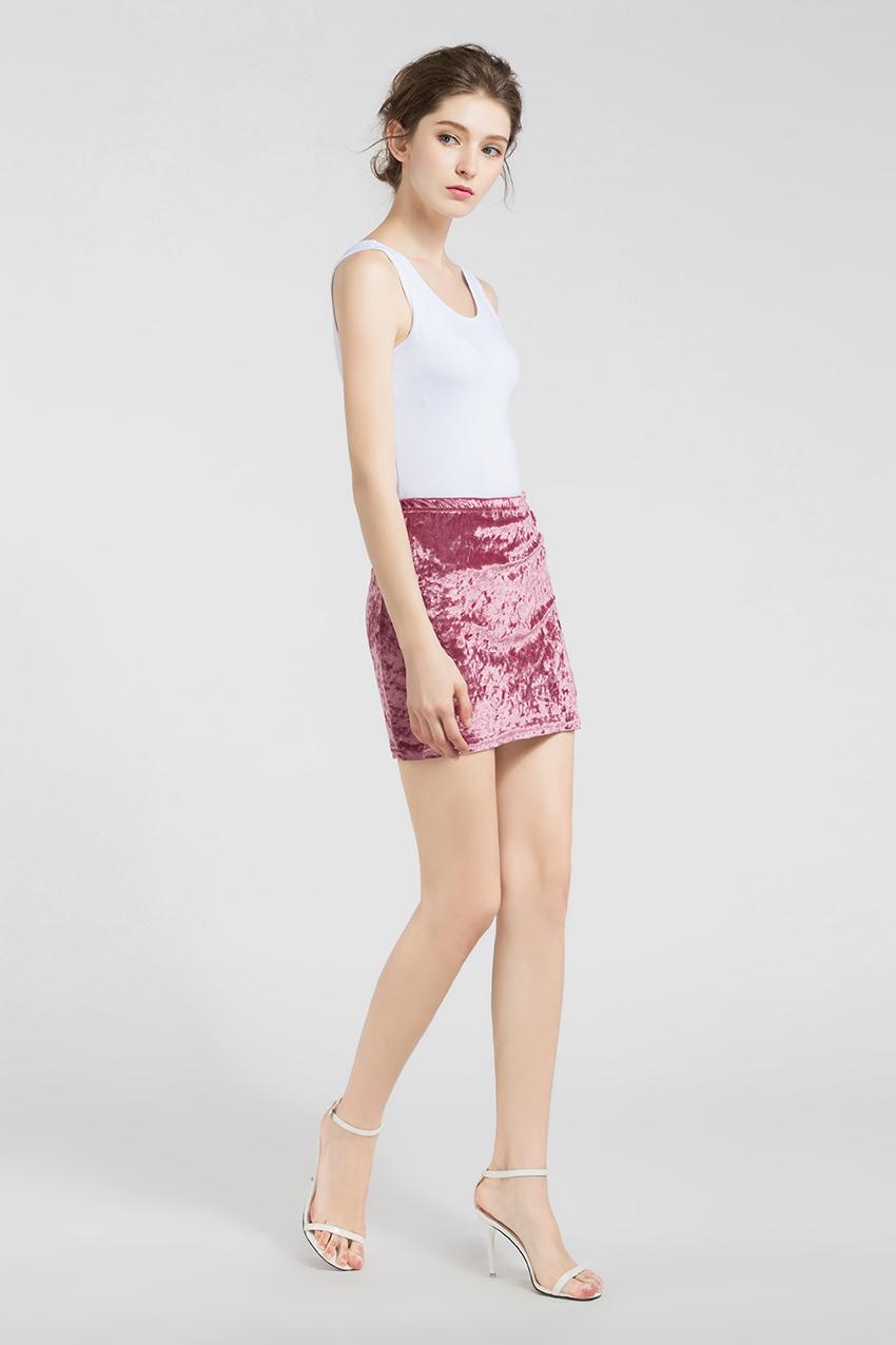 HTB1tWR RXXXXXaOXVXXq6xXFXXXW - FREE SHIPPING !!!! Velvet Skirt Women Autumn Black Pink Elastic High Waist Female JKP324