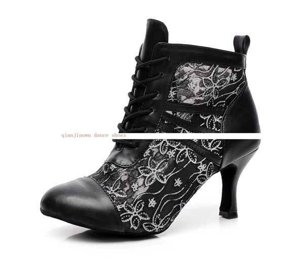 Wedding Jazz Salsa Ballroom Latin Dance Shoes For Dancing Women Standard Girl Cow Outsole Heel Cow Spit Lace Cut-outs 6176 Boots
