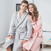 100 Cotton Flannel Couples Bathrobe Thick Unisex Bath Robe Winter Autumn Thickening Terry Lovers Bath Robes