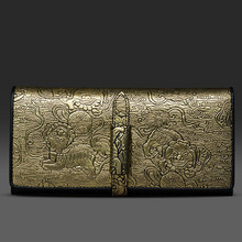 2016 Original Women Ladies Cowhide Gold Animal Prints Lion Embossing Coin Money Purse Cell Phone Pocket Long Wallet Card Wallets