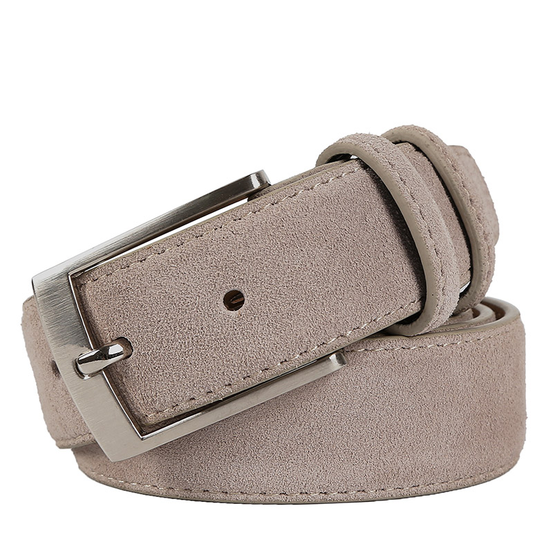 New Fashion Genuine Leather Suede Men's Belts Cowhide Belt Luxury Brand Brushed Metal Pin Buckle Ceinture Homme Luxe Marque