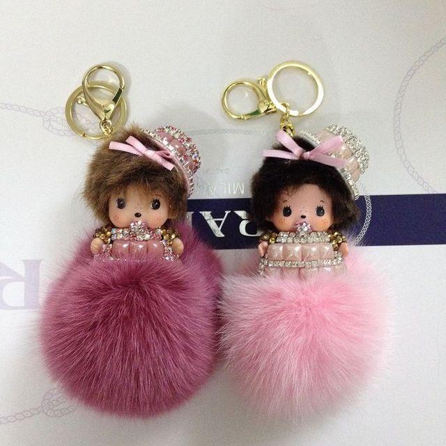 Formal Hat Monchichi Key chain Sleutelhanger Strass Keychain Keyring Fluffy Fox Fur Ball Pom Pom Women Bag Charm Porte Clef M130