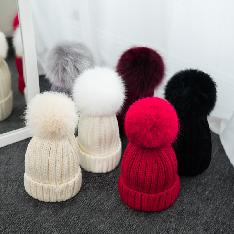 16cm Ball Warm Winter Hat For Women&Kids Beanie Knitted Rabbit Hats Real Fox Fur Pompom Skullies Cap Ski bonnet femme gorros W01 10cm real fox fur ball keychain on the keys fluffy real fur pompom car for couples fur ball key chains fur cap beanie