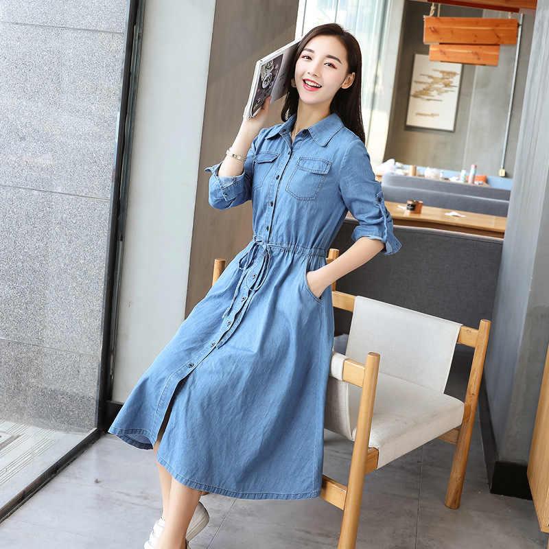 Женское свободное джинсовое платье с длинными рукавами длинное джинсовое платье-рубашка 2018 весенние однобортные Джинсы Кардиган с поясом