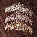 3 cores Na Moda Rosa Pérola Da Coroa De Noiva Tiara de Cristal Hairband Headpiece Videira Casamento Tiara Acessórios Para o Cabelo de Noiva Tiara