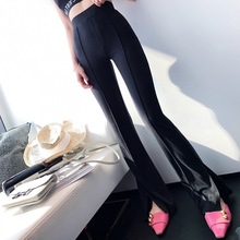 2019 New Style Back To The 80's with A Soul's Pendulous Stretchy Open Horn Pants Full Length Elastic Waist Black Pants Women semi sheer open back elastic waist playsuit