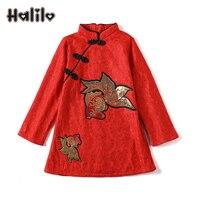 Halilo Girls Party Dress Kids Long Sleeve Birthday Dresses Plus Velvet Girls Winter Dress Robe Fille