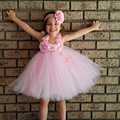 Pink and White Knee Length Tutu Dress with Headband Flower Girl Tutu Dress Princess Dress for Birthday Photo Wedding TS110