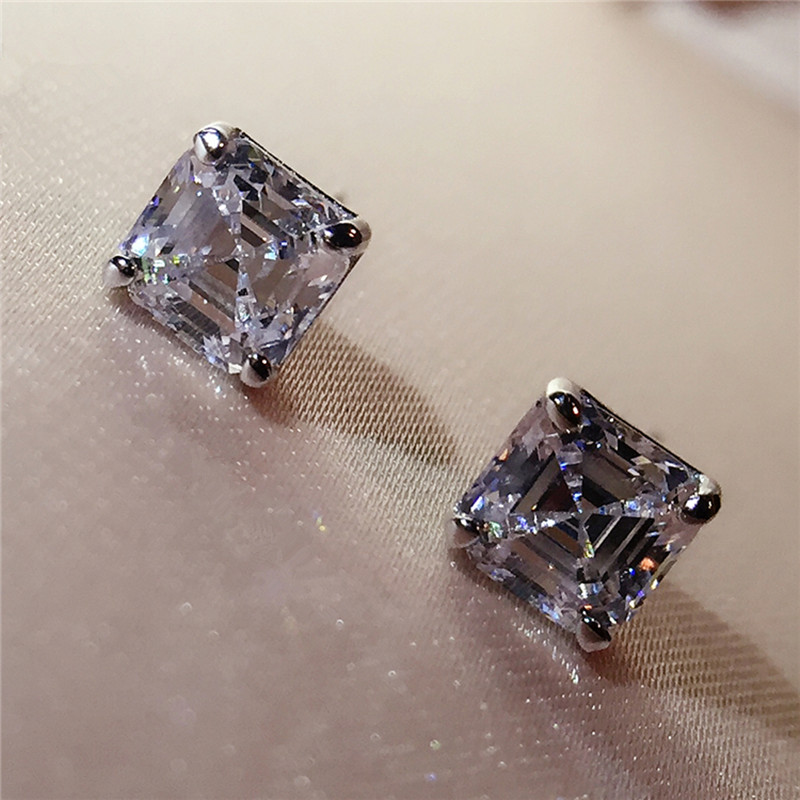 AINUOSHI Brand Sparkling Square Stud Earring Asscher Cut Sona Diamond Pure 925 Sterling Silver Shining Earring Lady Jewelry Gift ...