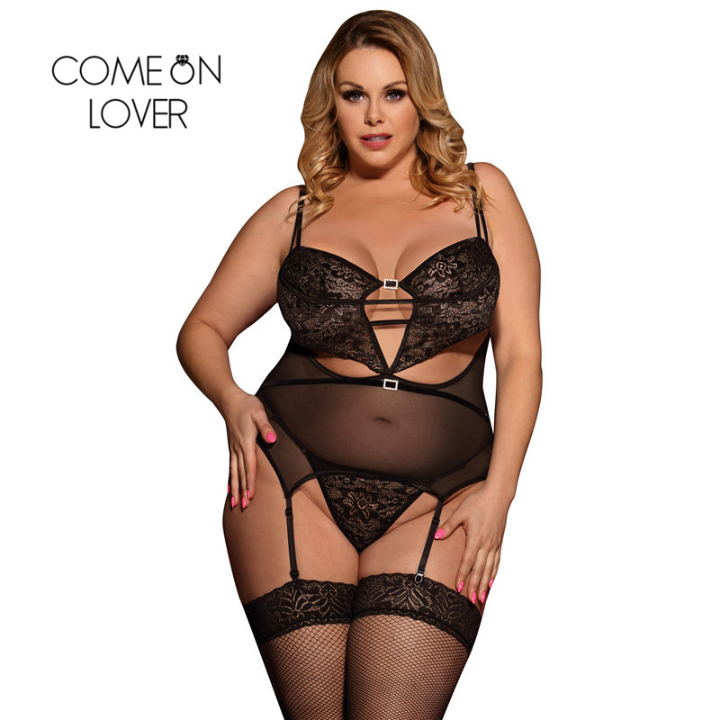 Comeonlover Women Babydoll Black Bra Pad Plus Size <font><b>Lingerie</b></font> <font><b>Femme</b></font> <font><b>Sexy</b></font> <font><b>Erotique</b></font> Underwire Dress+G String Erotic Underwear E80426 image