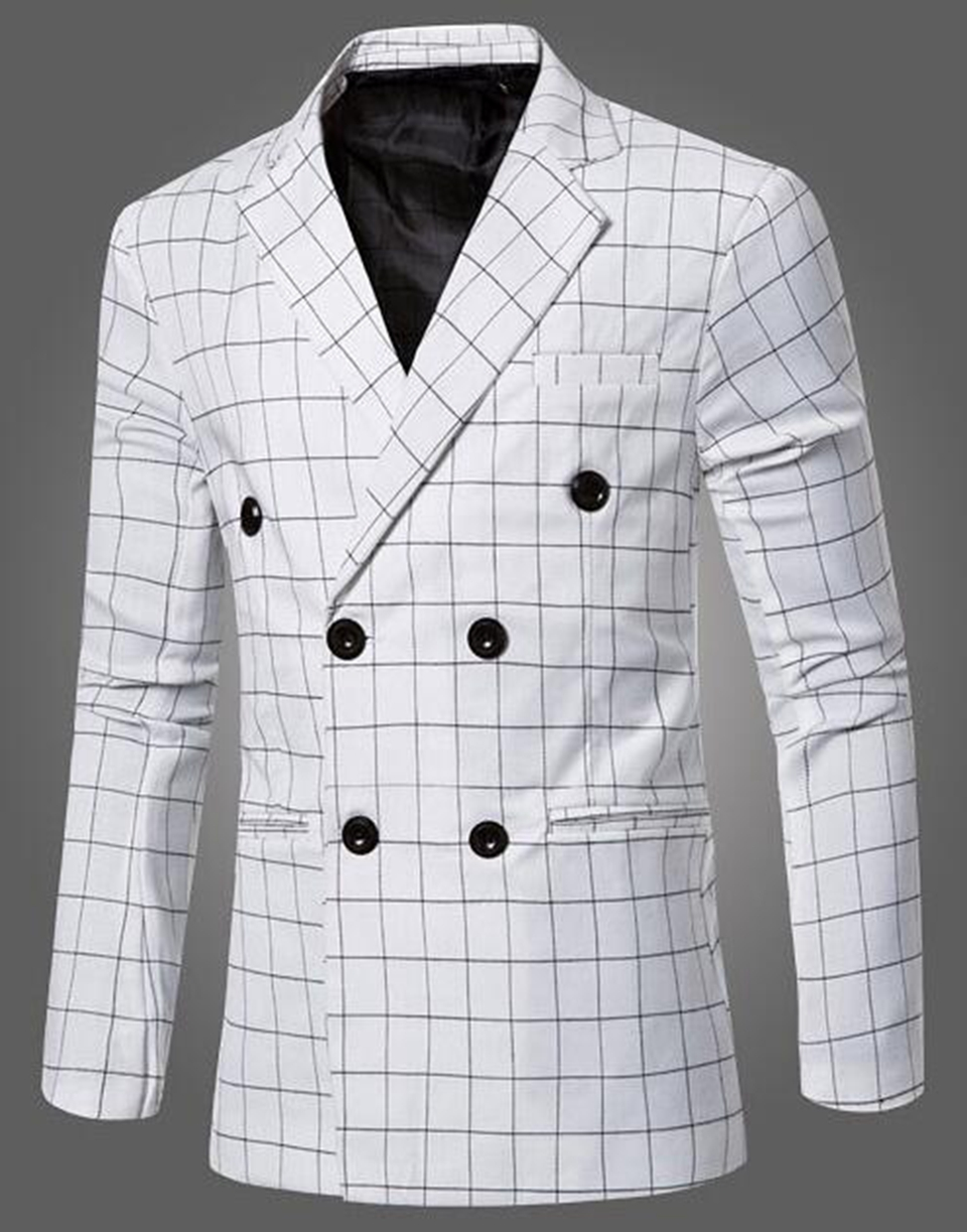 Man chun dong han edition business new high-quality goods leisure fashion big yards double-breasted suit jacket grid 245 / M-3XL