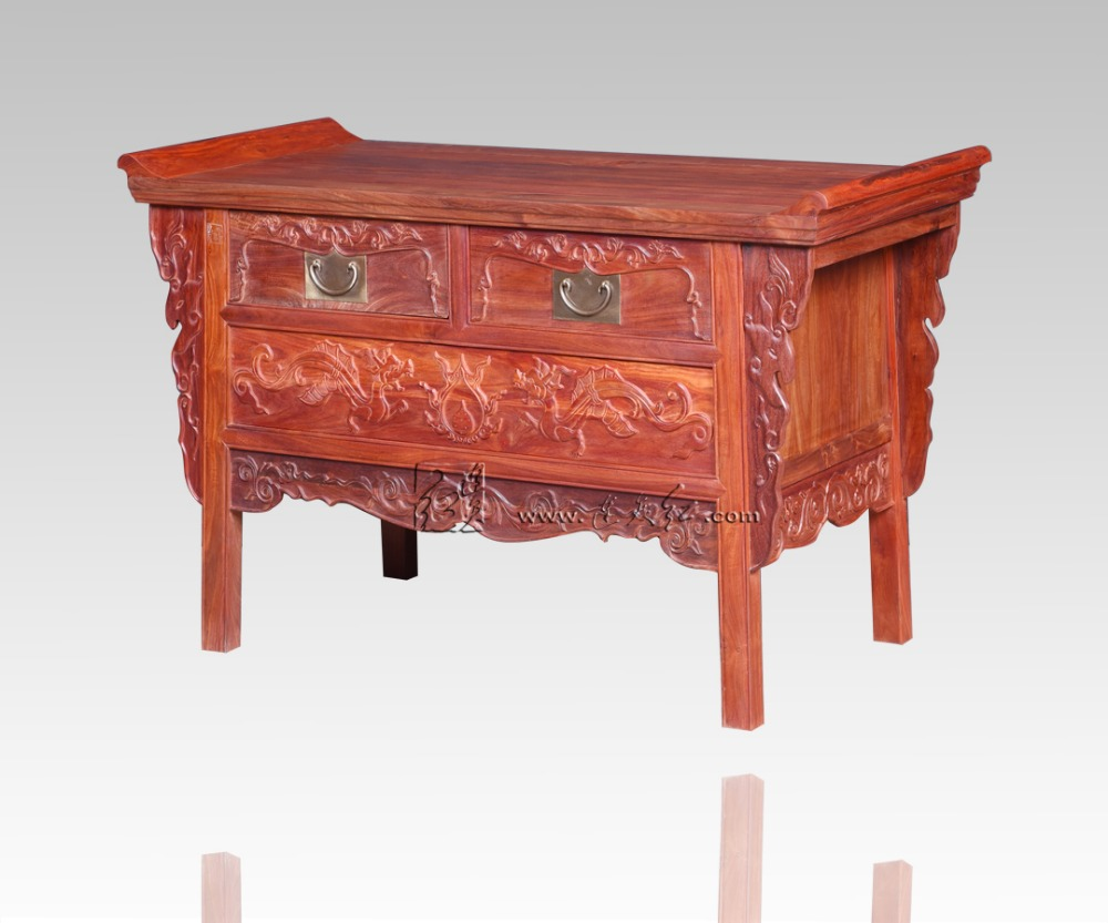 Palissandre salon bas armoires casiers classiques chinois Table TV en bois massif 2 tiroirs casiers Redwood comptoir Dragon sculpture - 3