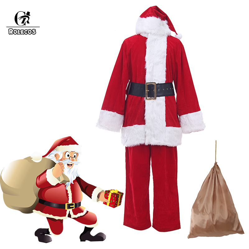 Rolecos Santa Claus Cosplay Costume A Full Set Of Christmas Costumes Red and Blue Santa Claus Christmas Clothes Luxury Suit