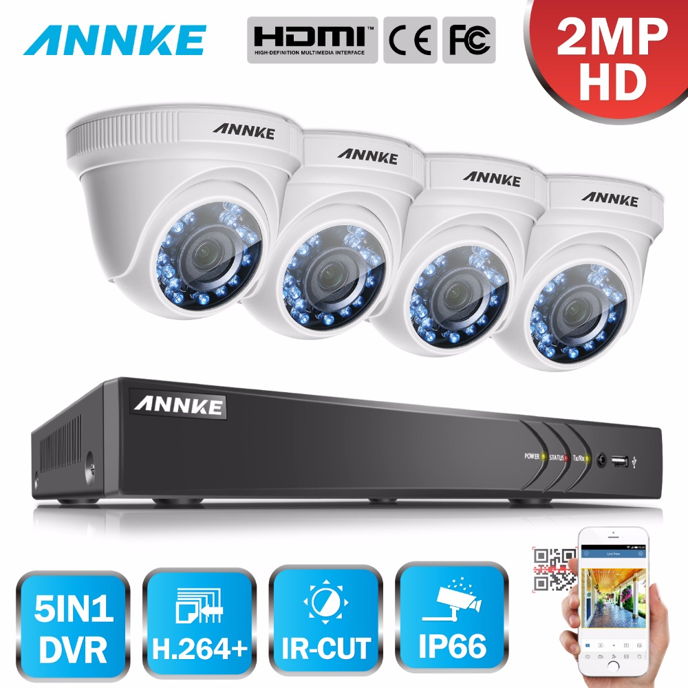ANNKE 1080P HD Security Camera System 4CH 1080P HDMI DVR Kit with 4pcs 2MP outdoor surveillance camera 1080P CCTV System hdd
