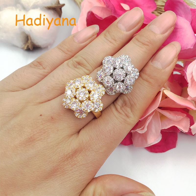 HADIYANA classic AAA Cubic zirconia 3 layered flower rose fashion ring brilliant trendy cute gift party accessaries CP281