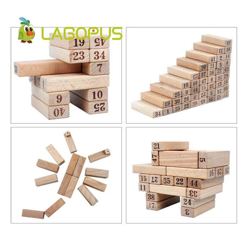 Lagopus 48 pièces Domino numérique Puzzle jouets en bois grand sur couche pile jouets éducatifs pour les enfants - 3