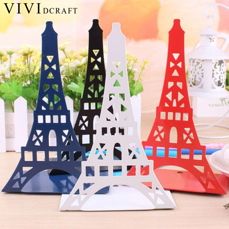 Vividcraft 2Pcs/lot Ramantic Eiffel Tower Bookends Book Stand Paint Iron Student School Office Holder Stand for Books Organizer цена