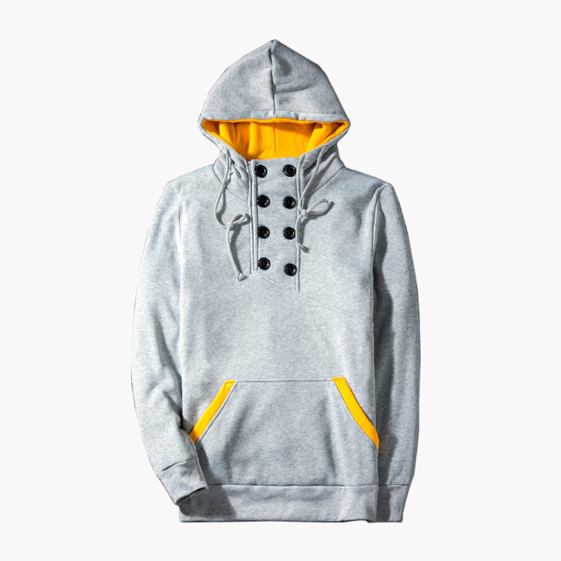 Mens Fashion Bright Color Splicing Large Pocket Decorative Hooded Men's Tops pullover hoodie hoodies for men casual male 3colour