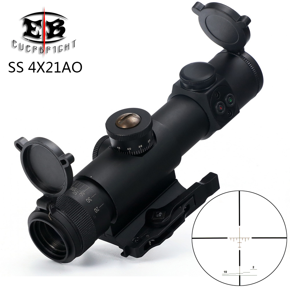 New EB SS 4x21 AO Compact Hunting Rifle Scope Tactical Sight Glass Etched Reticle Riflescope With Flip Open Lens Caps QD Mount