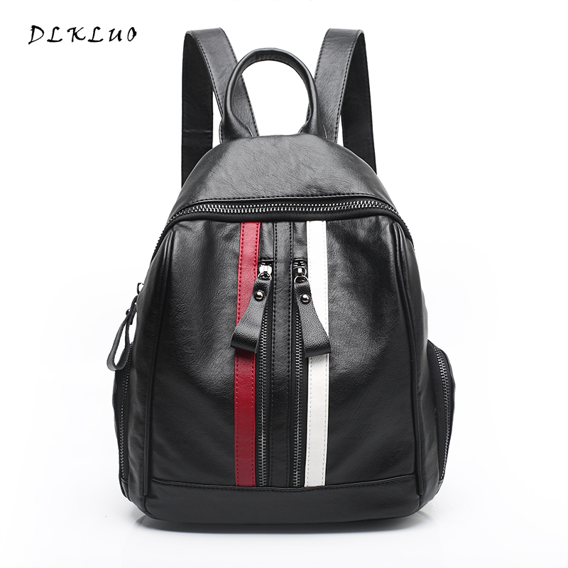 DLKLUO 2017 New Arrival Sheepskin Women Backpack Fashion Patchwork bags with Unique Double Zippers Waterproof bags