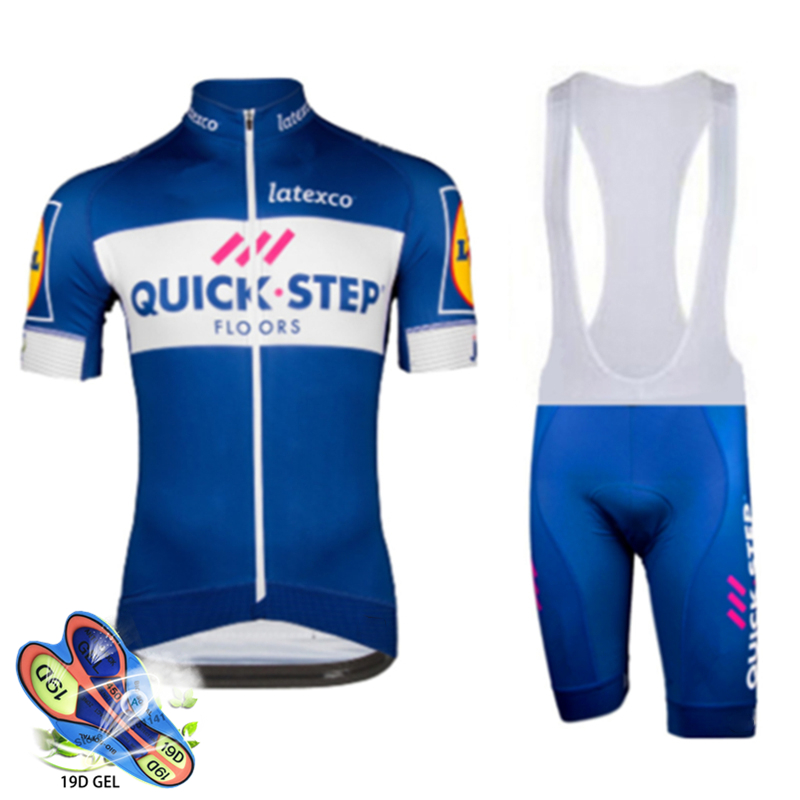 2019 Blue Quickstep Cycling Clothing Bike Jersey Quick Dry Bicycle Clothes Men's Summer Team Cycling Jerseys 19d Bike Shorts Set