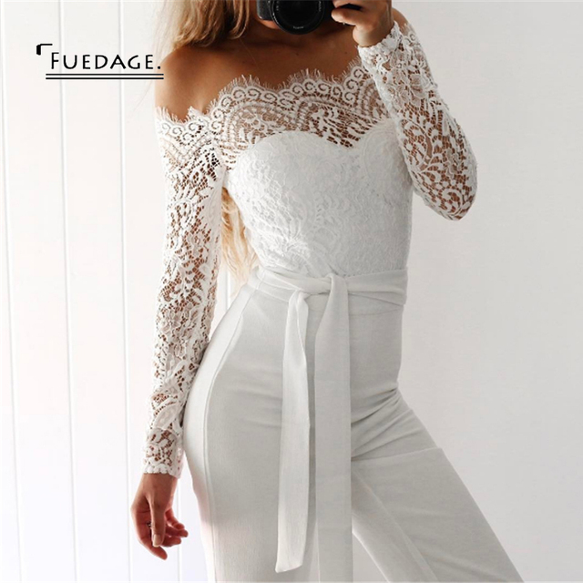 Fuedage Lace Up Sexy Long Jumpsuit Romper Women Off Shoulder Sashes
