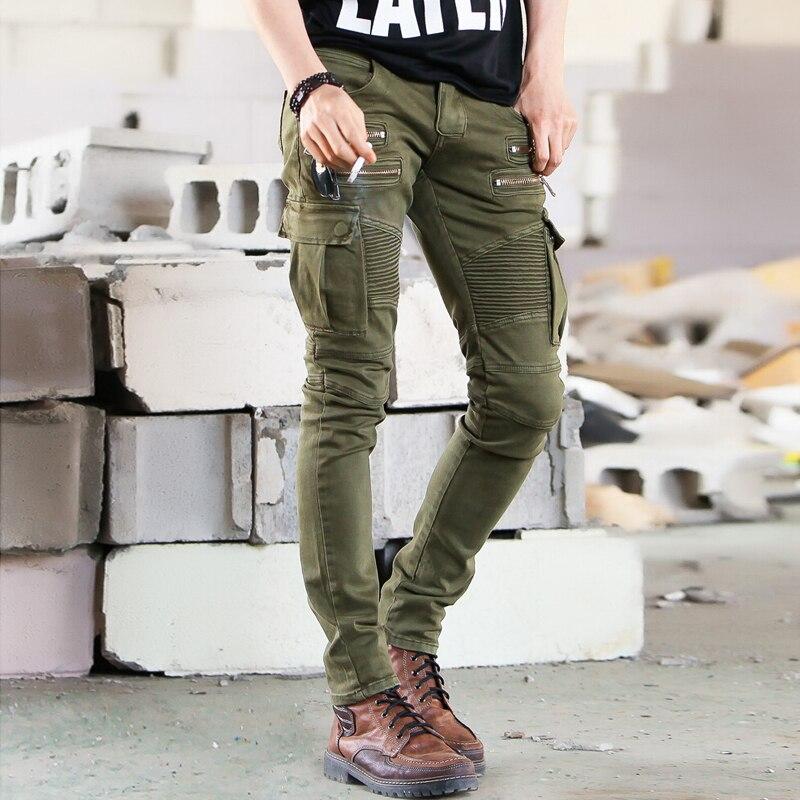 Zielone czarne jeansowe jeansy dla motocyklistów męskie obcisłe nowy z wybiegu w trudnej sytuacji slim elastyczne spodnie hip-hopowe wojskowe motocyklowe homme