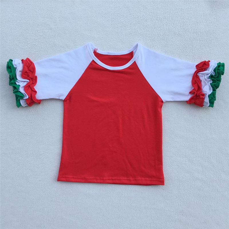 Kids Christmas Shirts children Ruffles Raglan t shirts girl brand ...