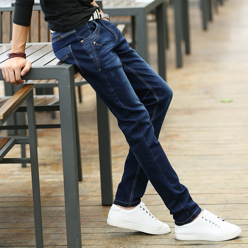 2016 spring men's jeans slim feet and a young male Korean men's trousers elastic trousers fashion pockets print star
