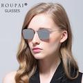 ROUPAI Vendimia gafas de sol Polarizadas Mujeres hombres mujeres marca oculos Lentes de Espejo Gafas de Sol de las mujeres de acero inoxidable 8017