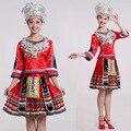 Женская танец костюм Мяо национальная этап одежда Древний Традиционный Китайский Мяо косплей Одежда Хмонг Одежда s-4xl размер