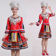 women's dance costume Miao national stage clothing Ancient Traditional Chinese Miao cosplay Clothing Hmong Clothes s-4xl size(China)