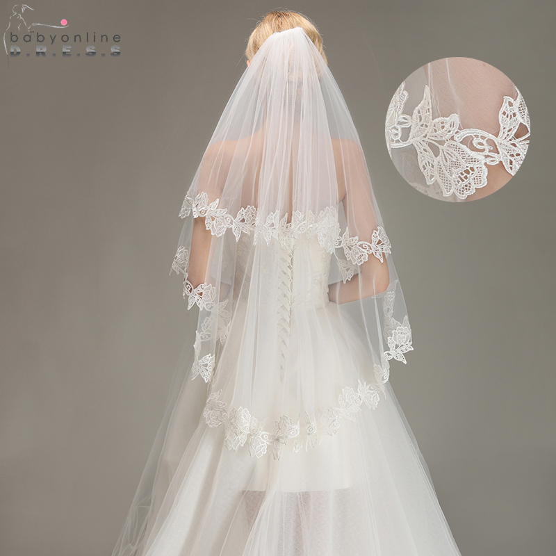 Romantic Lace Applique Two Layers Wedding Veils 2018 1.5 M