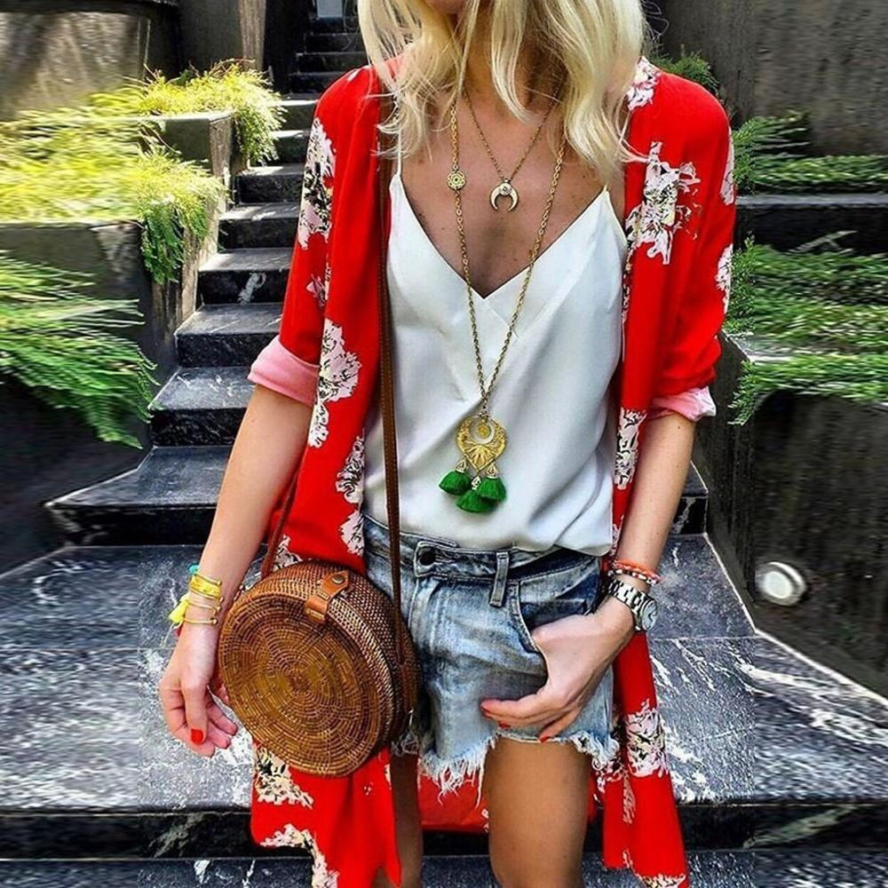 2019 Women Fashion Summer Blouse See Through Ladies Floral Print Chiffon Kimono Cardigan Casual Beach Shawl Bluzki Damskie AD