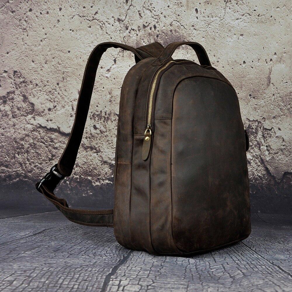 dark Buch Leder Universität Rucksack Männer Tasche Student Design Daypack Mode Brown Echt Brown Männlichen Reisetasche Schule Rindsleder 621d Sawqc5AqY