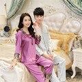 Pijamas De Seda De china Para Las Mujeres y Los Hombres A Juego Parejas Pijama Homewear Otoño Primavera de Manga Larga Par de Satén de Seda Pijama