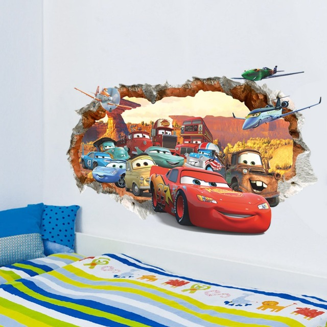 Cartoon Cars Poster 3D Broken Wall Decor Stickers For Kids Room Boys Bedroom Self Adhesive Decal Removable Play Room Mural Gift