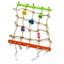 1Pcs Parrot Toy Bird Acrylic Hemp Rope Color Net Block Climbing with Hook Birds Cage Accessories Supplies