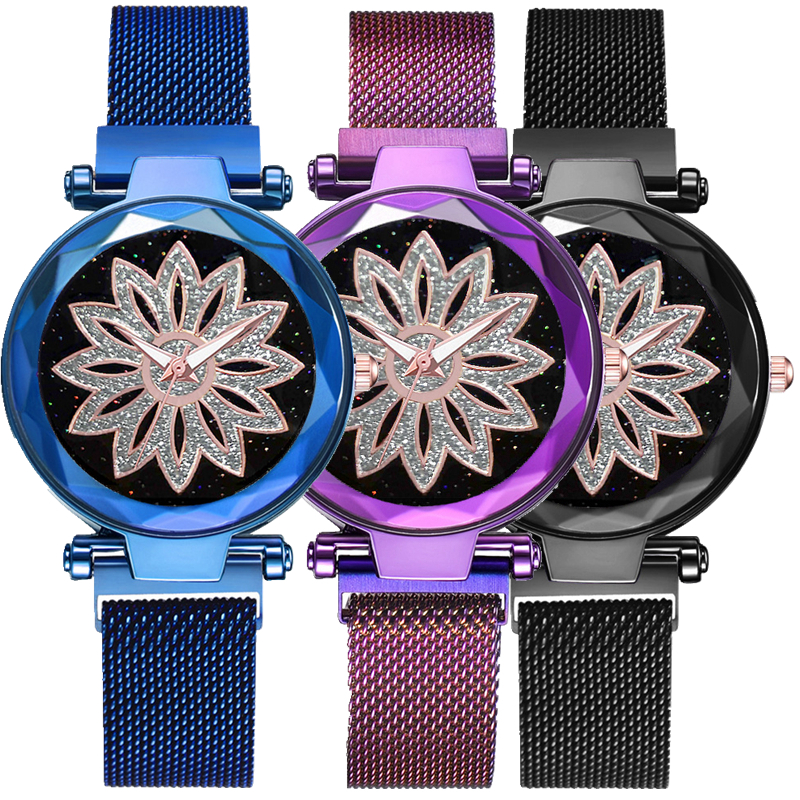 2019 trend flower pattern women fashion alloy metal mesh starry sky Magnetic buckle watch wholesale ladies casual dress watches-in Women's Watches from Watches    1