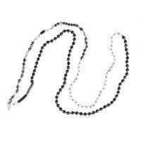 C. Quan Chi moda joyería hecha a mano anudada collar amistad vintage negro y blanco piedra Strand Collar para las mujeres