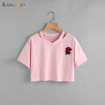 2017 Fashion Harajuku Rose Cute Short Sleeve Cotton Tshirts Women Crop Top Tee Floral Embroidery Pink T Shirt Cute Tees JU273 Лосины