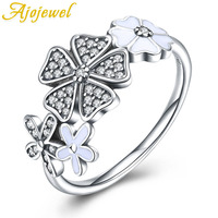 Ajojewel Fashion Silver 925 Engagement Rings Flower Design Sterling Silver Ring With AAA Cubic Zirconia For