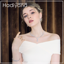 Hadiyana Conjunto de joyería de cristal de gota de agua con zirconia cúbica de alta calidad, 4 Uds., conjunto de joyería nupcial para mujer CN150