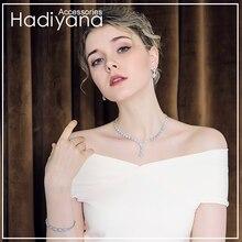 Hadiyana yeni köpüklü su damlası kristal takı setleri yüksek kalite kübik zirkon 4 adet gelin taş bayan mücevher seti CN150