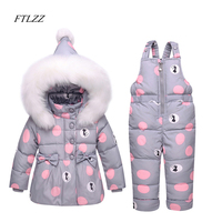 Winter Children Clothes Sets Baby Boy Girl Dark Down Coat Suit Thick Jacket Pants 2pcs Kids