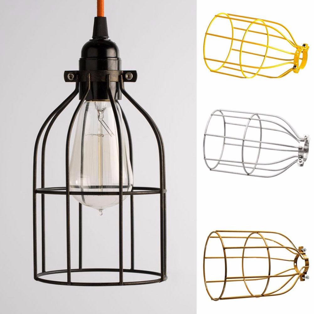 E27 Vintage Abajur Iron Cage Lighting Metal Hanging Lamp Guard For Wiring Holder String Light Wire Shade In Covers Shades From Lights