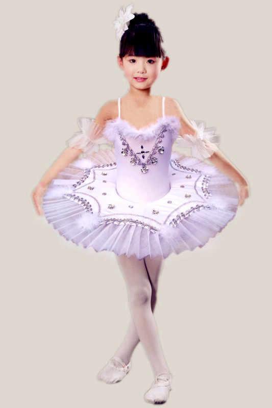 Детская балетная пачка, платье для танцев, профессиональное балетное танцевальное платье для девочек, белое перо, Лебединое озеро, танцевальная одежда принцессы 89